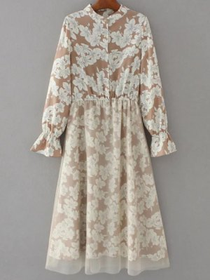 Long Sleeve Tulle Panelled Floral Dress - Light Brown