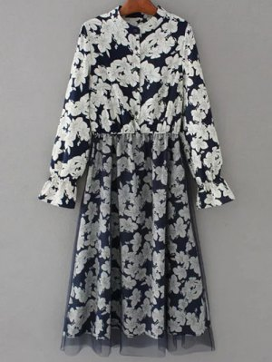 Long Sleeve Tulle Panelled Floral Dress - Purplish Blue