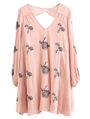 Long Sleeve Embroidered Swing Dress - Pink