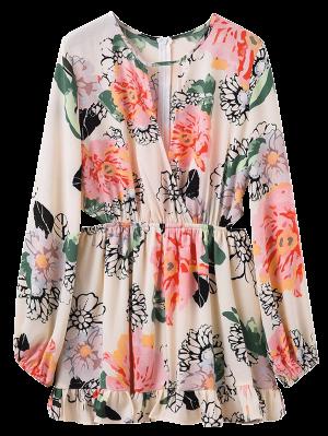 Floral Print Waist Cutout Keyhole Dress - Floral