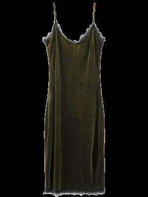 Eyelash Lace Velvet Cami Dress - Blackish Green