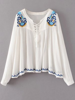 Embroidered Lace-Up Blouse - White