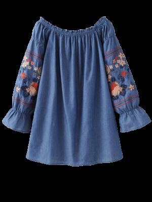 Fuera Del Hombro De La Blusa Bordada Floral - Azul