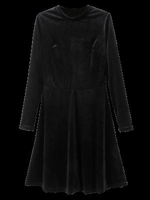 Stand Neck Long Sleeve Velvet Mini Dress - Black
