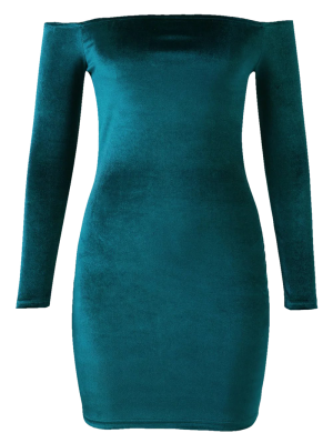 Off The Shoulder Long Sleeve Velvet Dress - Lake Green