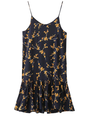 Spaghetti Strap Ruffle Floral Print Dress - Cadetblue