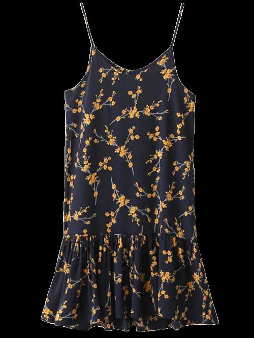 Ruffle Floral Print Slip Dress