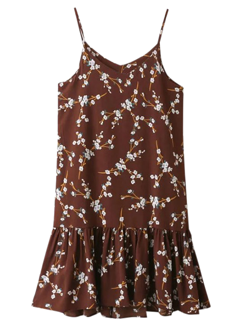 Ruffle Floral Print Slip Dress