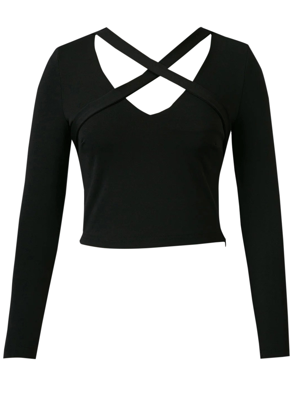Banded Cropped T-ShirtClothes<br><br><br>Size: L<br>Color: BLACK