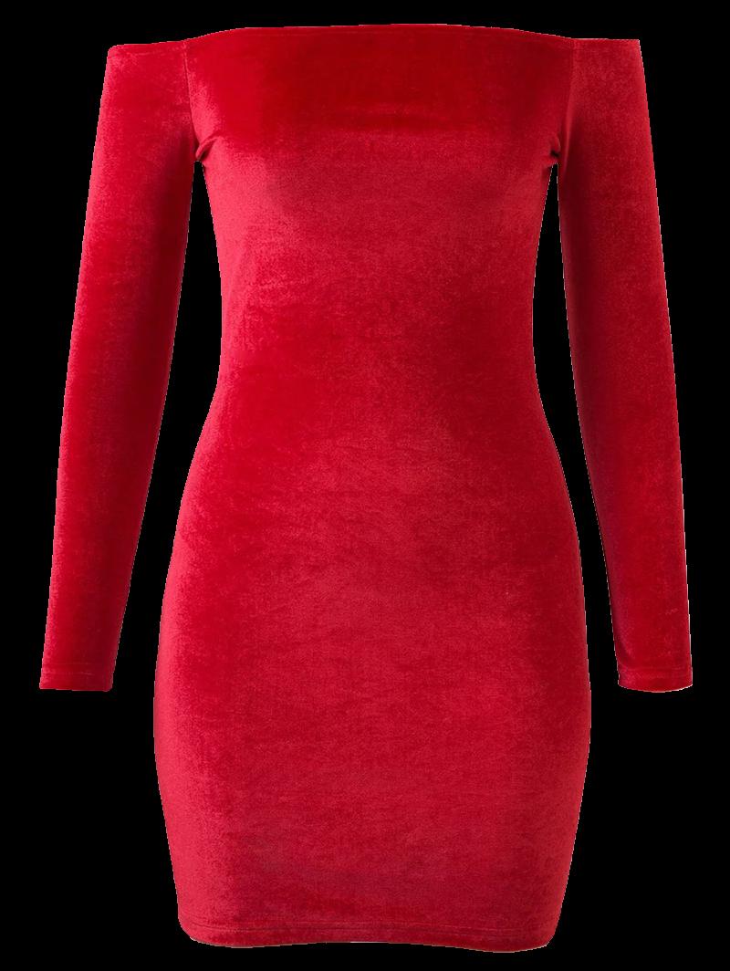 Velvet Off The Shoulder Long Sleeve Dress