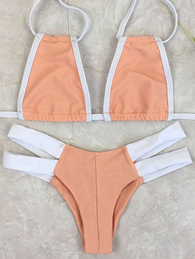 Contrasting Piped High-Cut Bikini Set