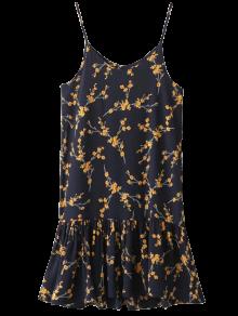 Spaghetti Strap Ruffle Floral Print Dress - Cadetblue