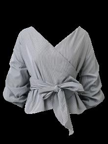 Bowknot Striped Surplice Blouse - Stripe