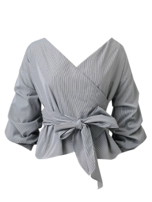 Bowknot Striped Surplice Blouse