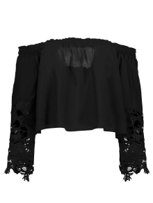 Buy Shoulder Lace Bell Sleeve Blouse - BLACK XL
