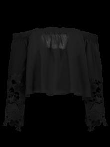 Buy Shoulder Lace Bell Sleeve Blouse - BLACK M