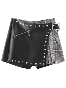 Plaid Rivet Faux Leather Shorts