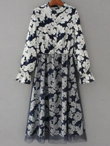 Long Sleeve Tulle Panelled Floral Dress - Purplish Blue M