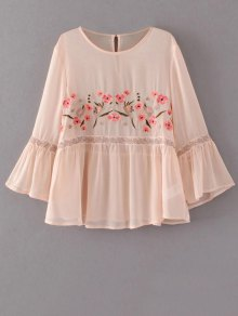 Flare Sleeve Embroidered Blouse - Apricot
