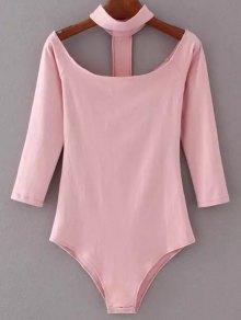 Skinny Off The Shoulder Choker Bodysuit - Pink