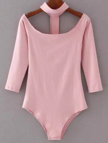 Skinny Off The Shoulder Choker Bodysuit - Pink