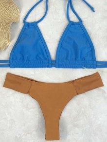 Bicolor Halter Thong Bikini Set - Wheat