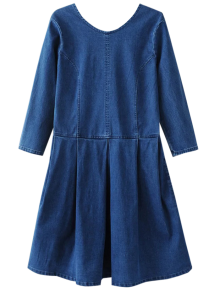 Back U Neck Jean Dress - Blue S