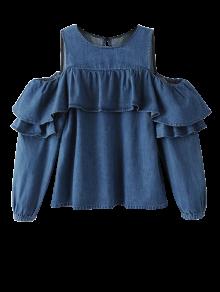 RUFFLES Cold Shoulder Denim Blouse - Bleu S