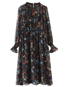 Printed Sheer Chiffon Dress With Slip Dress