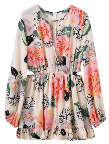 Floral Print Waist Cutout Keyhole Dress