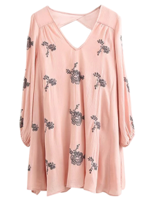 Long Sleeve Embroidered Swing Dress - Pink S