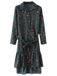 Printed Ruffle Hem Shirt Dress - Blackish Green M
