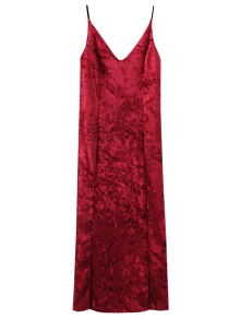 Crushed Velvet Cami Slip Dress - Red M