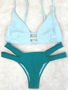 Spaghetti Straps Color Block Bikini Set - Green