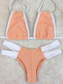 Bicolor Banded Plunge Bikini - Orangepink