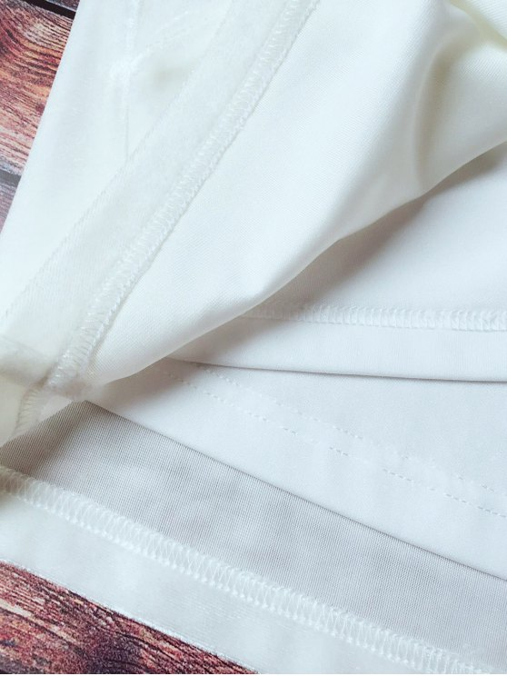 Lace Trim Velvet Camisole Top - WHITE L Mobile
