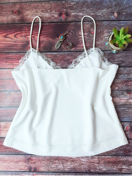Lace Trim Velvet Camisole Top - WHITE M Mobile