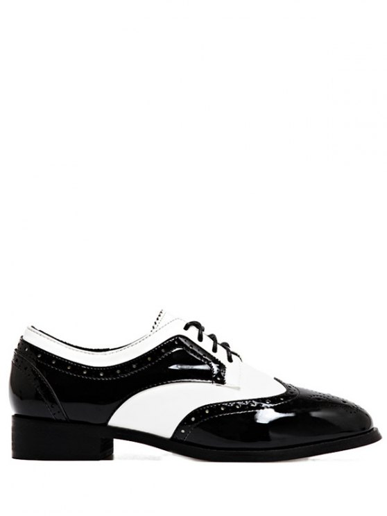 Lace Up Two Tone Wingtip Flat Shoes - WHITE AND BLACK 38 Mobile