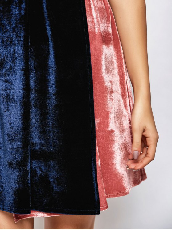 Velvet Two Tone Wrap Dress - BLUE AND PINK ONE SIZE Mobile