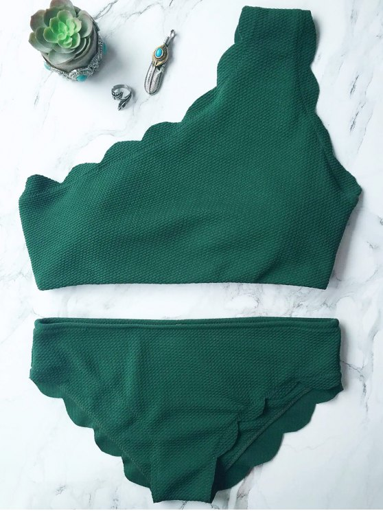 Wireless Scalloped One Shoulder Bathing Suit - BLACKISH GREEN S Mobile
