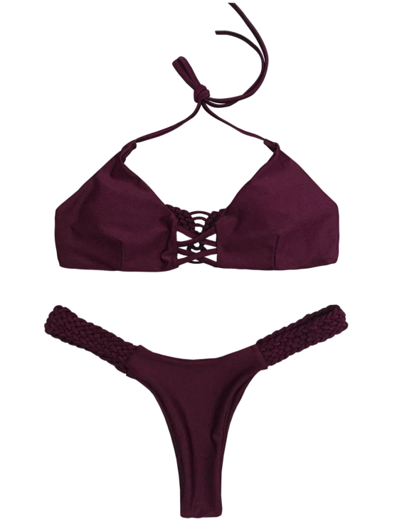 Cami Braided High Leg Bikini Set - WINE RED L Mobile