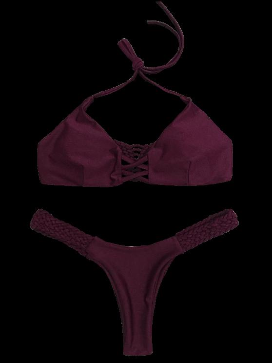 Cami Braided High Leg Bikini Set - WINE RED M Mobile