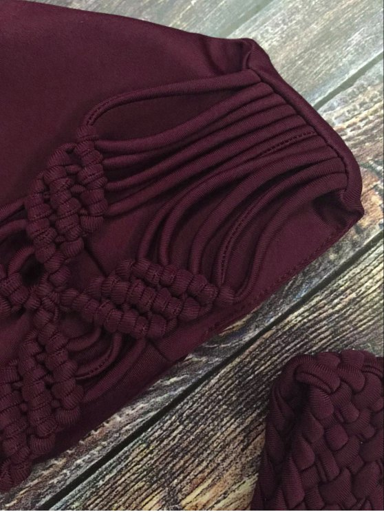 Cami Braided High Leg Bikini Set - WINE RED S Mobile