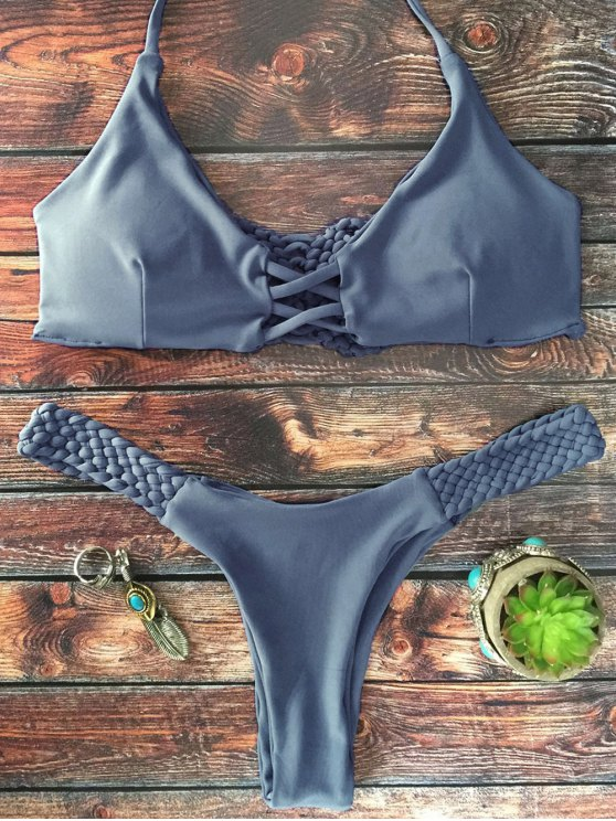 lady Cami Braided High Leg Bikini Set - GRAY S