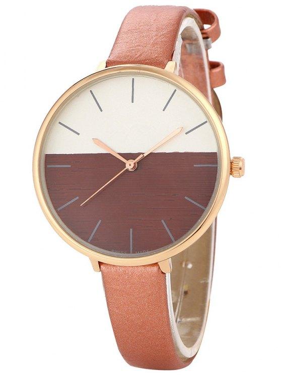 Bloque de color reloj de cuarzo - Marrón