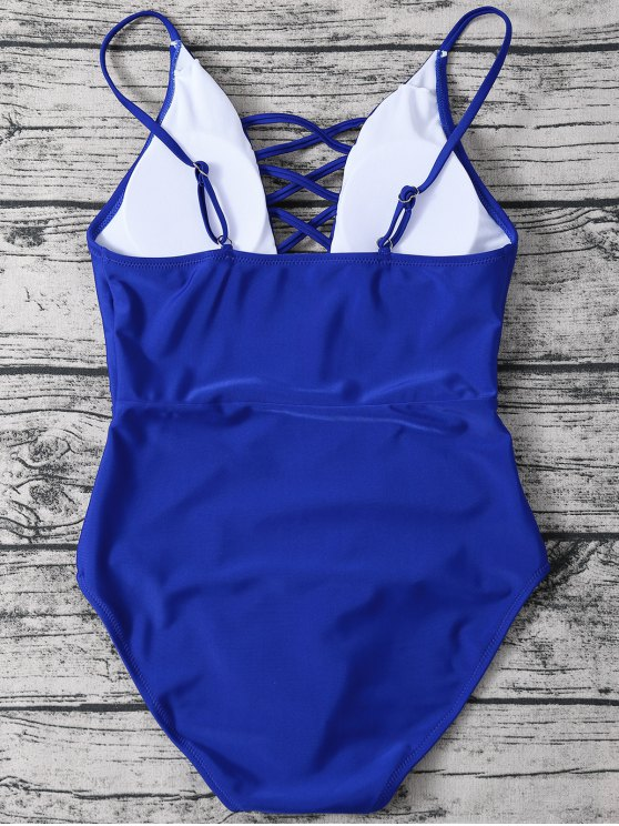 Strappy Lace-Up One-Piece Swimwear - BLUE M Mobile