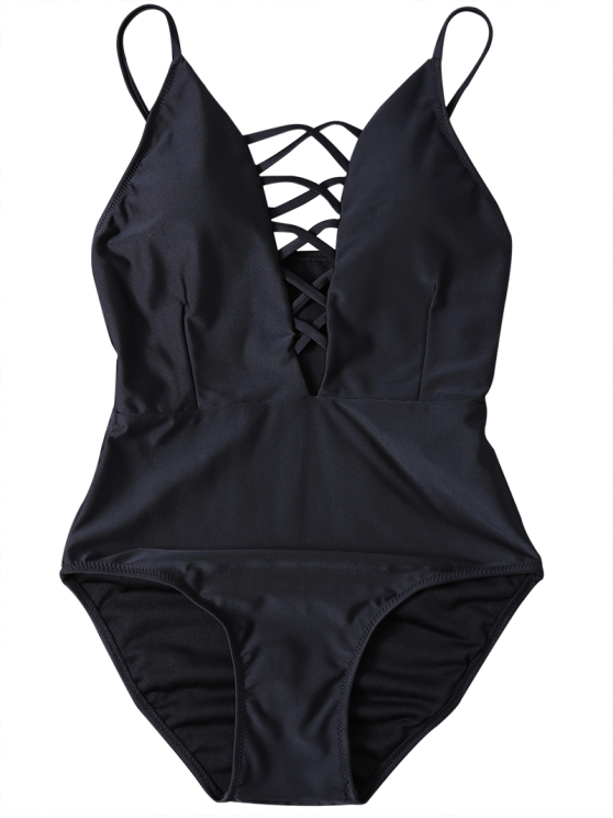 Strappy Lace-Up One-Piece Swimwear - BLACK XL Mobile