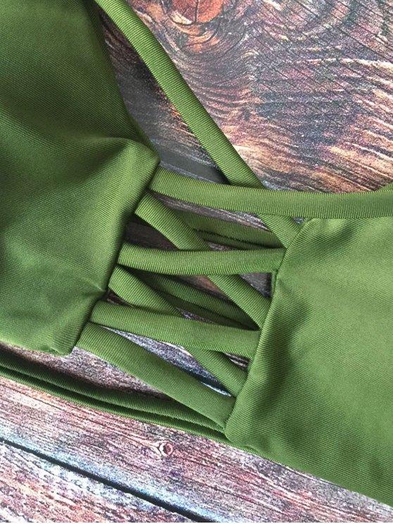 Lace-Up Cutout Strappy Bikini Set - GREEN M Mobile
