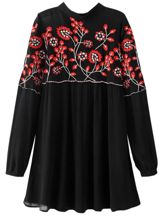 ladies Stand Neck Floral Embroidered Dress - BLACK L