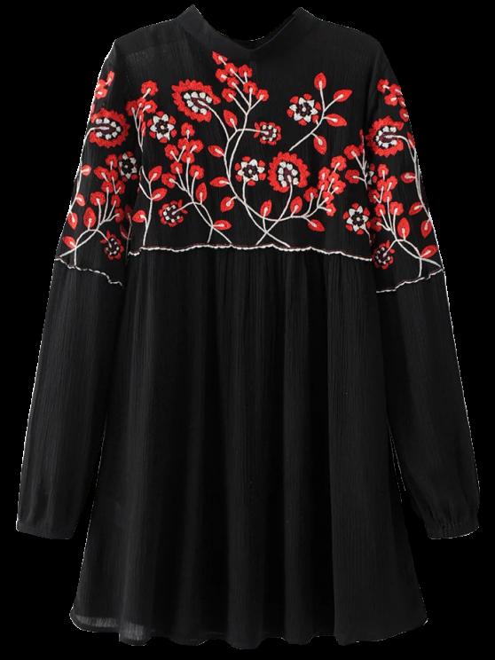 best Stand Neck Floral Embroidered Dress - BLACK S